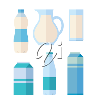 Different traditional dairy products from milk on white background. Packaged kefir, milk and yogurt. Assortment of dairy products. Farm food. Dairy icons set. Vector illustration in flat style.