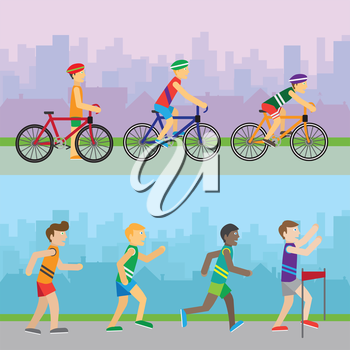Sport recreation banners. Running competition. Bicycle tournaments. Runners near finish. Best wins the race. Active men sign symbol icons. Healthy way of life sport concept. Racing. Athletics. Vector
