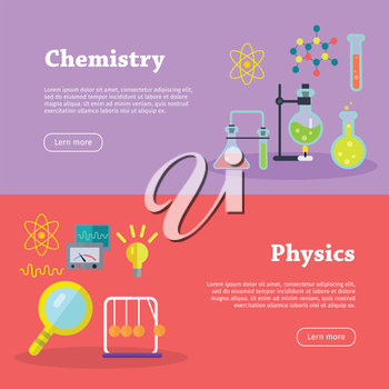 Chemistry and physics science banners. Chemical flasks and bottles, medicinal substance for experiments, molecular chains, preparations. Physical devices, equipment, elements. Vector in flat style