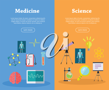 Medicine and science concept vector web banners. Flat style. Vertical illustration for educational, medical and scientific online services startups, corporate web sites, business landing pages design
