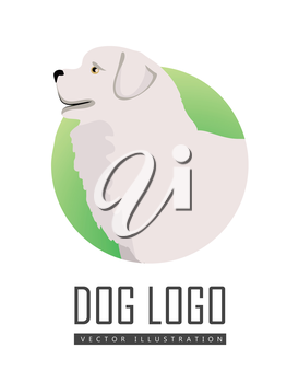 Dog logo vector illustration of Maremma Sheepdog breed dog isolated on white. Has solid, muscular build, thick white coat,a large head and black nose. Cartoon puppy. Home pet. Vector illustration