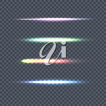 Set of vector light lines. Vector illustration on transparent background. Design element with light effect. Horizontal flash light. For ad visual effects design, science concepts, magic light