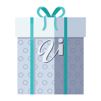 Single gray gift box with green ribbon in flat design. Beautiful present box with overwhelming bow. Gift box icon. Gift symbol. Christmas gift box. Isolated vector illustration