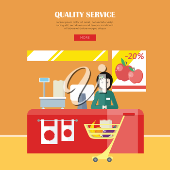Quality service concept. Woman in green shirt standing behind counter of supermarket. People shopping, marketing people, customer in mall, retail store illustration. People in supermarket interior.