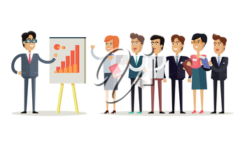 Team work concept vector in flat style. Office workers standing in a row in front of the head, which shows indexes on the board. Business presentation. Illustration for corporate ad, infographics.