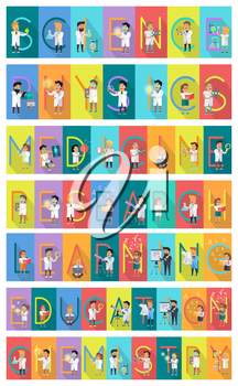 Science banner set. Science alphabet. ABC vector with scientists at work. Simple colored letters and scientist character. Scientific research, learning, education, technology illustration. Flat design
