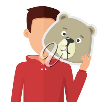 Man character in red sweatshirt with bear mask in hand vector. Flat design. Masquerade animal clothing and party costume. Psychological portrait and hidden personality. Isolated on white background