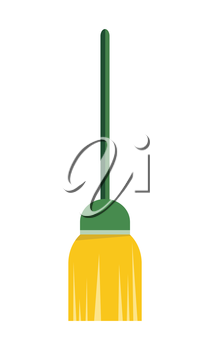 Broom isolated on white background. Cleaning tool. Sign symbols of clean in house. House washing equipment. Office and hotel cleaning. Housekeeping. Cleaning concept. Vector illustration