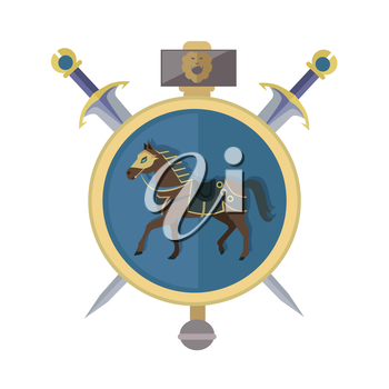 Brown horse in gold circle. Isolated avatar icon with swords. Steady strong horse. Stylized fantasy character. War concept. Part of series of game objects in flat design. Vector illustration.