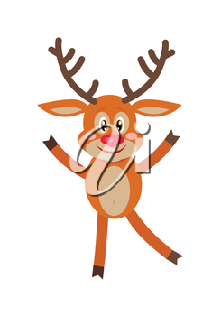 Deer dancing isolated on white. Reindeer greeting you. Smiling cartoon character in flat style design. Deer wishes Merry Christmas and happy new year. Cute deer posing. Vector illustration