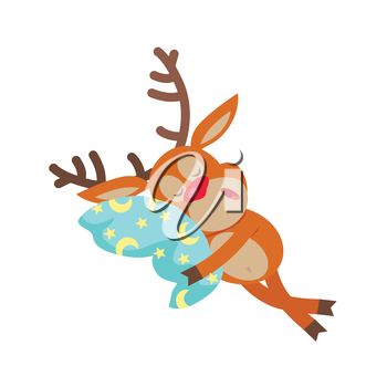 Deer sleeping on pillow isolated. Reindeer sleeps on cushion with moon and stars. Funny cartoon character being asleep in flat style design. Merry Christmas and Happy New Year. Vector illustration