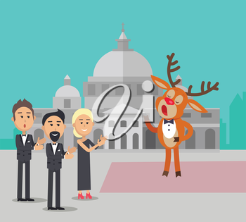Deer singing song near the conservatory. Reindeer in suit sing opera. Audience applause to him. Deer singer in flat style design. Cute cartoon mammal posing. Deer in bow. Vector illustration