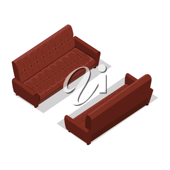 Leather sofa on two sides vector in isometric projection. Comfortable furniture illustration for stores ad, app icons, infographics, logo, web and games environment design. Isolated on white backgroun
