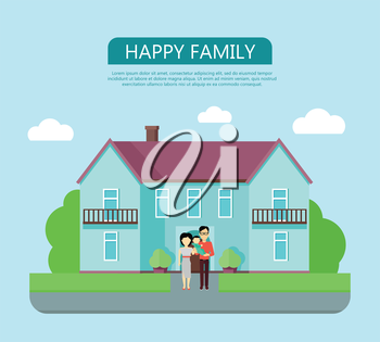 Happy family in the yard of their house. Home icon symbol sign. Colorful residential cottage in blue colors. Part of series of modern buildings in flat design style. Real estate concept. Vector