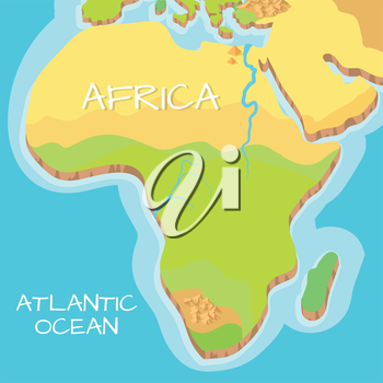 Africa isometric map with natural attractions. Cartography nature concept. Geographical map with local relief. Africa continent between Indian and Atlantic ocean. Vector illustration