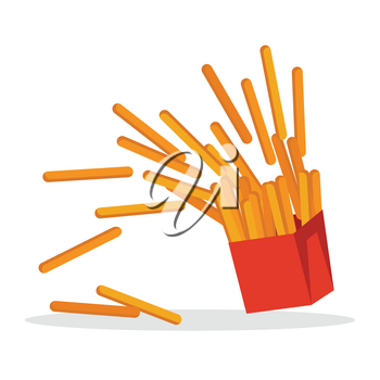 French fries isolated on white. Crispy potatoes in red paper bag. Junk unhealthy food. Consumption of high calories nourishment fast food. Part of series of promotion healthy diet and good fit. Vector
