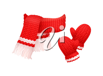 Woolen mittens and knitted scarf with white threads isolated vector. Winter neckcloth and gloves made of cachemire, fashion handmade wintertime cloth