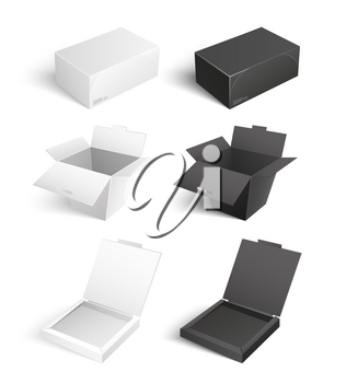 Mockup of cardboards, delivery packs signs. Containers templates vector icons. Boxes and packages made of paper and carton isolated pizza packagings