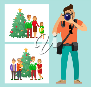 Couple family standing by Christmas tree photo vector. Mother and father, grandmother and grandfather evergreen pine photoshoot photographer with camera