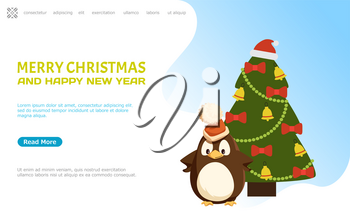 Merry Christmas and happy New Year web page online vector. Pine tree decorated with Santa Claus hat on top, baubles bows and ribbons garlands decor