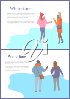 Walking friends outdoor in wintertime. Men and women going and speaking in warm scarf and jacket and in hat or earmuffs, papercard with text vector