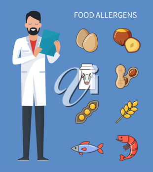 Food allergens doctor with prescription and cure from disease vector. Allergy treatment, raw eggs and cow milk, wheat and shrimps, fish and beans