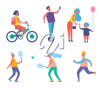 Biker woman with rucksack on back isolated icons vector. Mother and child eating ice cream, people playing tennis. Running jogging male, keeping fit