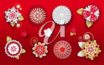 Flower origami decoration for Chinese New Year vector. Ornament with petals and leaves, blooming flora, decor for holiday spring festival celebration