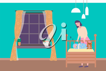 Mother standing near wooden baby bed with sleeping newborn and teddy toy. Bedroom with big window and blue wall, mom caring, portrait view of family vector