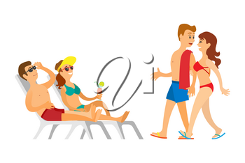 Portrait view of sunbathing people on chaise lounge, couple going together, man and woman wearing swimsuit and sunglasses, leisure or vacation vector