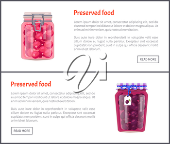 Preserved food posters with text and jars and conserved plums. Fruit preservation in glass bottles closed with metal hermetic cap. Canned meal vector