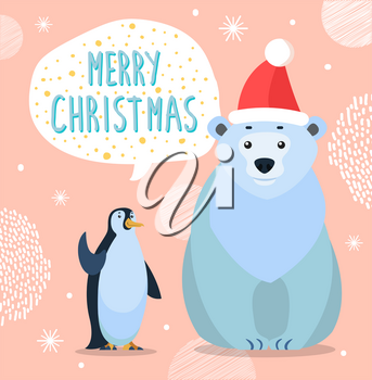Polar white bear and emperor penguin, cartoon characters. Merry christmas greeting card. Preparing for winter holiday. Arctic animal in red hat and antarctic bird. Vector illustration in flat style