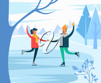 Hobby of man and woman figure skating on ice rink in park. Couple holding hands giving performance. Pair training in winter sports. Leisure of friends at weekends. Vector in flat style illustration