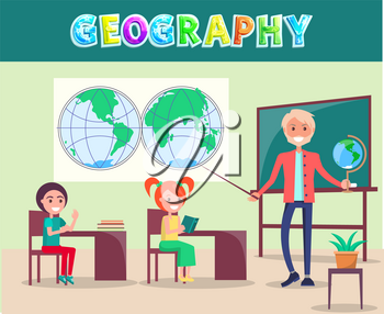 Geography school lesson in classroom with world map, chalkboard and globe poster. Vector teacher and listening children with book cartoon characters.