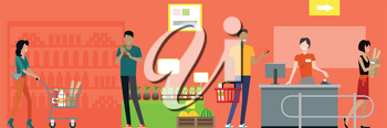 Shopping in supermarket vector. Flat style design. Buyers and store employees in grocery store interior. Cashier serves buyers on counter desk equipment. Fast and comfortable purchases illustrating.