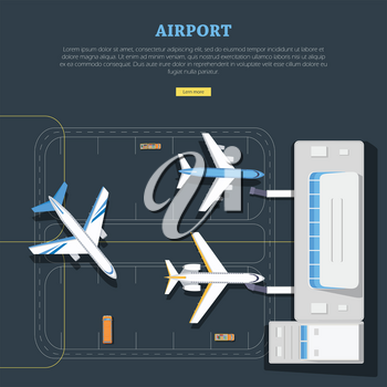 Vector informative picture about airport structure and location planes. Main building, runway, lorry with luggage, bus with passengers on illustration. For aviation websites, airport scheme.