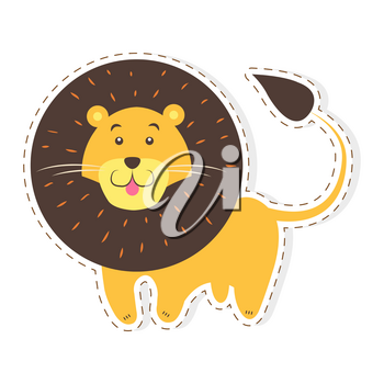 Cute funny african cat or lion vector flat cartoon sticker or icon outlined with dotted line isolated on white. Wild animal illustration for game counters, price tags