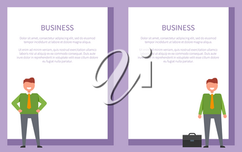 Business posters set with cheerful businessmen with orange tie posing. Vector of adult men and black leather briefcase on white with place for text