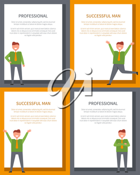 Professional successful men posters set with businessman running holding hands up. Vector of smiling businesspeople isolated with frame for text