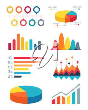 Set different colorful bar graphs and pie charts for representing statistics. Vector illustration with variety of graphs on white background