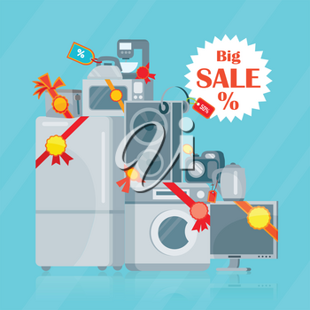 Big sale in electronics store concept. Group of different home technics with label and price tag flat vector illustrations isolated on blue background. Online shopping. For holiday discount promotion