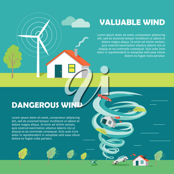 Valuable wind, dangerous wind banners. Wind strength levels. Windless breeze strong wind hurricane. Set of wind levels. Cottage house. Natural disaster. Changeable weather concept. Vector