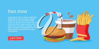 Tasty fast food banner. French fries in package, cola in plastic glass, and hamburger on blue background. Different fast food products on table. Fast food menu. Vector illustration. Website template