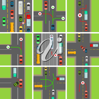 Set of situations on road. Traffic laws govern traffic and regulate vehicles. Rules of road. Car breaks traffic rules. Overtaking is forbidden or permitted. Breakdown of traffic organization. Vector