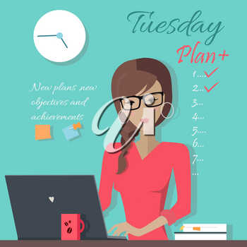 New plans, new abjectives and achievements. Office lady writing down a week plan. Young woman in glasses and red blouse works on his laptop in office, sitting at desk, looking at computer monitor