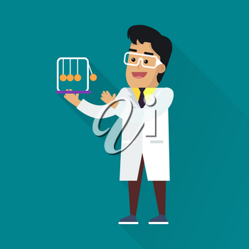 Scientists man in white robe and glasses at work. Scientist physicist holding Newton s cradle. Scientists in lab. Science and technology development, scientific research, research. Science background