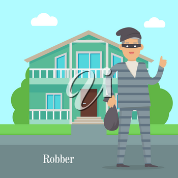 Robber near cottage house. Thief with bag of money in black mask. Thief in robber suit stole money. Criminal with money in flat style design. Robbery concept. Gangster escape from prison. Vector