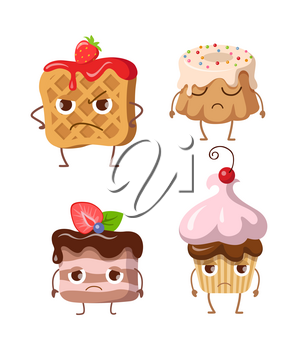 Sweets. Set of belgian waffle, fruit cupcake, round cake, small cake. Belgian waffle with jam and strawberry. Chocolate cupcake with topping and balls. Piece of cake with chocolate cream. Vector