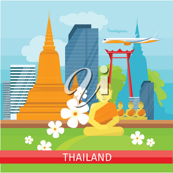 Thailand travelling banner. Landscape with traditional Thai landmarks. Skyscrapers and private buildings. Nature and architecture. Part of series of travelling around the world. Vector illustration