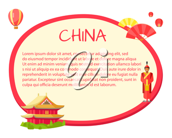 China information in round isolated tag with traditional signs on white. Round label with red edge and traditional oriental house, ancient soldier on it, yellow and red fans, colourful air-balloon